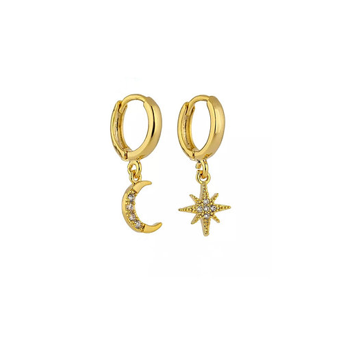Gabriella crystal moon and star earrings