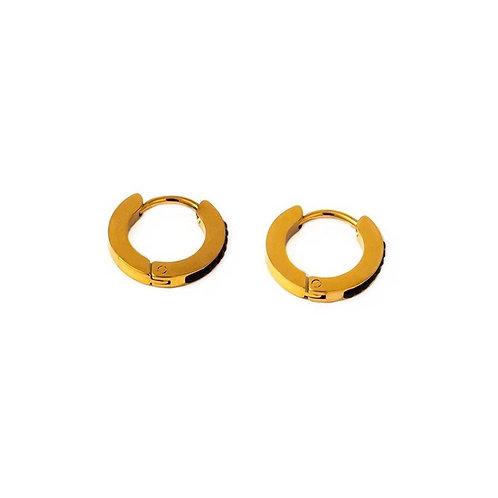 Kate mini black stone hoop earrings