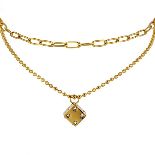 Kelsey lucky dice layered necklaces