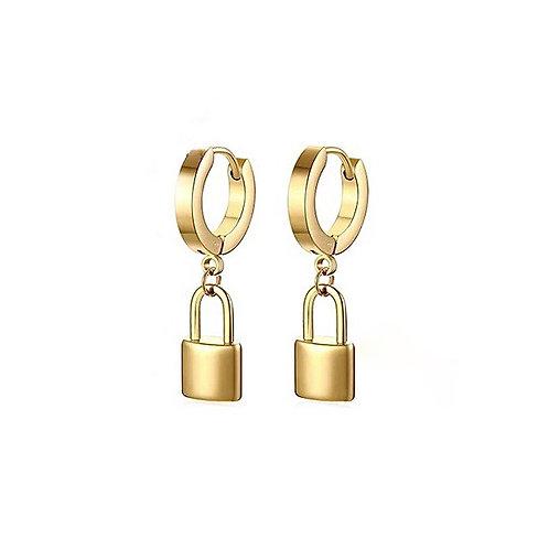 Mabel gold lock earrings