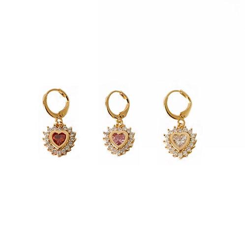 Louise gold crystal heart earrings