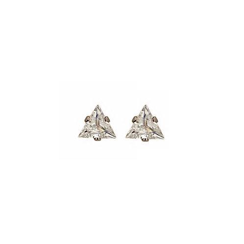 Jane silver triangular crystal stud earrings