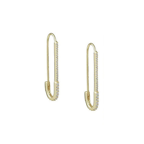 Amara crystal gold safety pin earrings