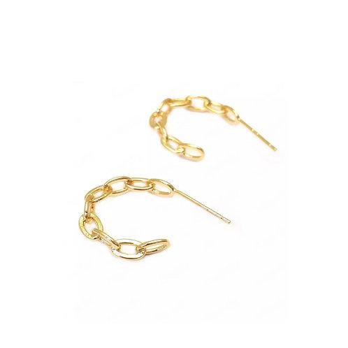 Amber chain style hoop earrings