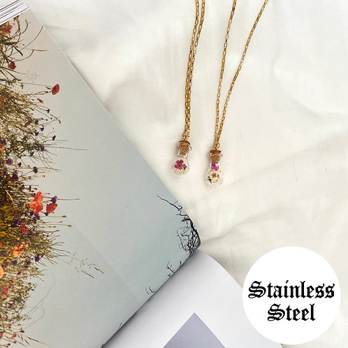 Poppy flower vial necklaces