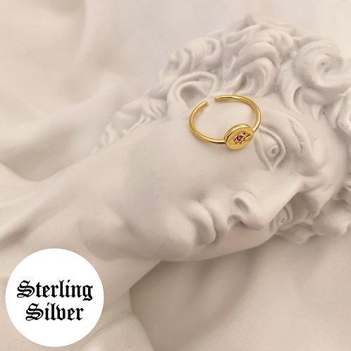 Paris round adjustable pink sparkle ring