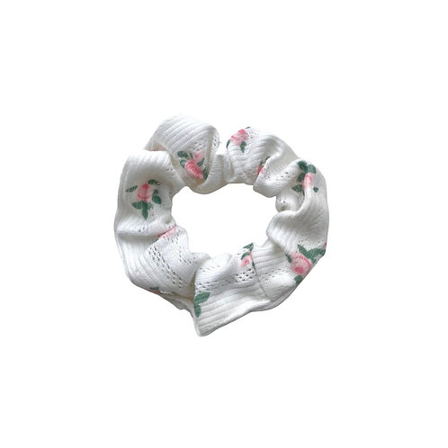 Floral cotton hair scrunchie