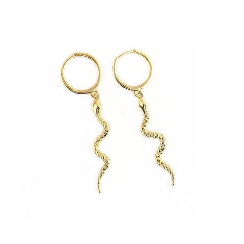 Pheobe gold snake dangle earrings
