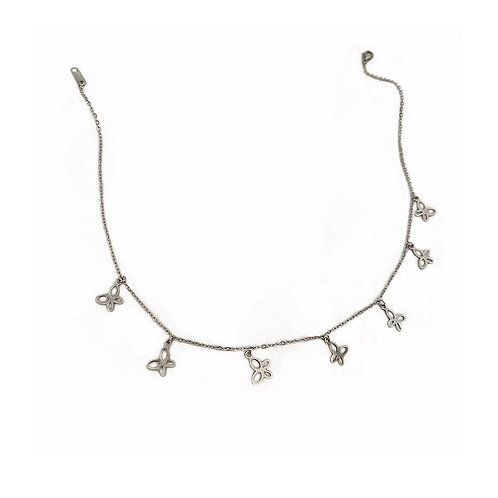 Katie silver butterfly choker necklaces