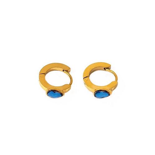 Alya blue teardrop hoop earrings