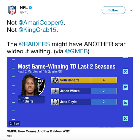 NFL Tweet About Seth Roberts (Click Link)