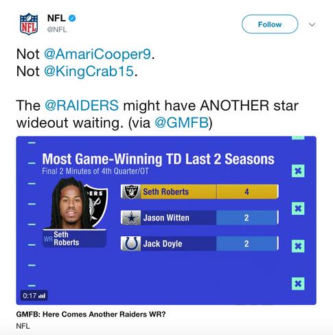 NFL Tweet About Seth Roberts (Click Link)