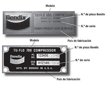 Placa identificacion compresor Bendix