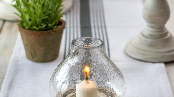 Small White Natural Wood Hurricane Lamp