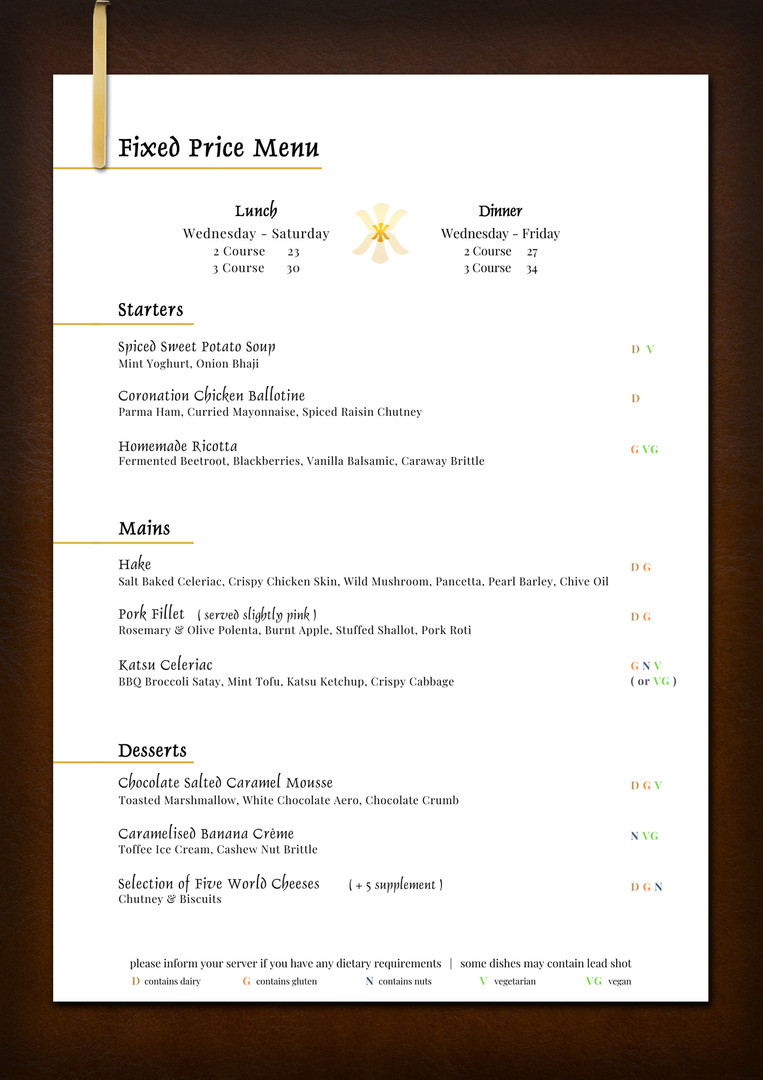 Fixed Price Menu