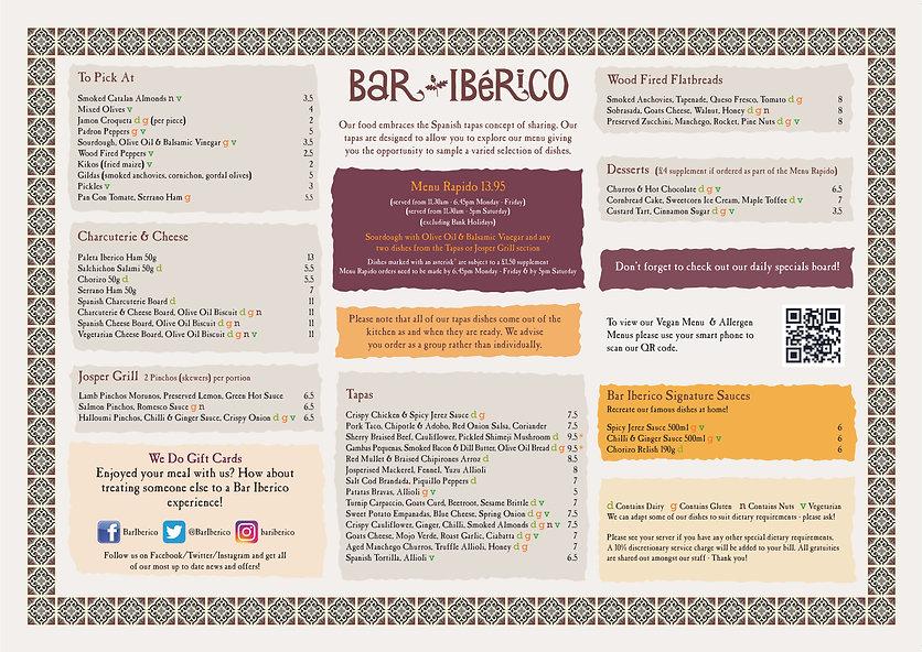Bar Iberico Menu