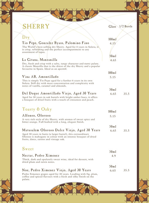 Sherry Menu