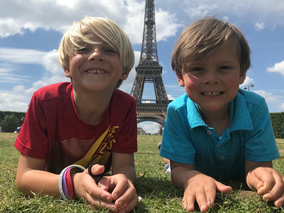 Caden and Rowan at the Eiffel Tower. We