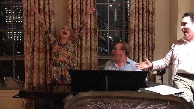 """At Charles Strouse's 91st Birthday party accompanying Penny Fuller on Leonard Bernstein's piano. Yes, she was singing """"One Halloween."""" Eric Vitale is on the right equally as memorized as I was."""