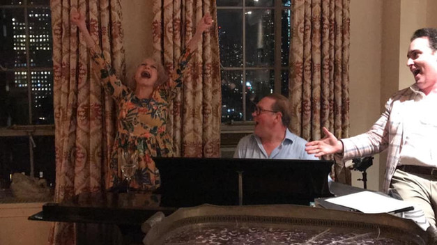 "At Charles Strouse's 91st Birthday party accompanying Penny Fuller on Leonard Bernstein's piano. Yes, she was singing ""One Halloween."" Eric Vitale is on the right equally as memorized as I was."