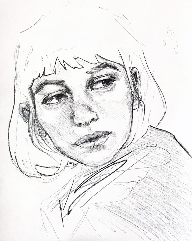 Lost in Thought, Pencil on paper, 36x28cm, £50, 2020