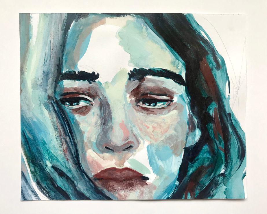 Acrylic on paper, 19.5x16cm, £35, 2019