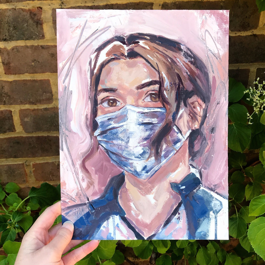NHS Portrait, oil on canvas paper, not available