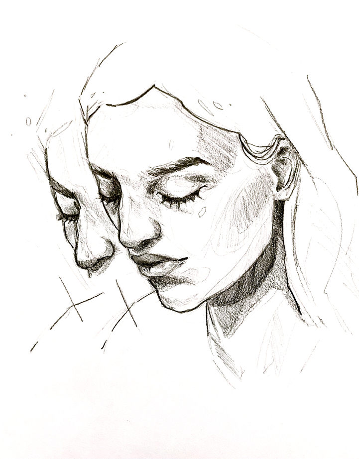Lost in Thought 3, Pencil on paper, 36x28cm, £50, 2020
