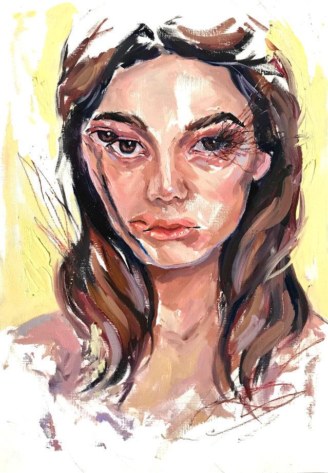 Broken Mirror, 30x42cm, oil on canvas paper, 2020