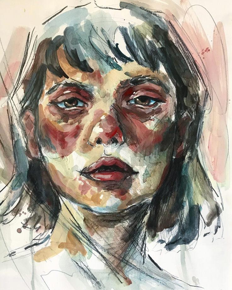Portrait Study, 35.5x28cm, Acrylic on canvas, 2020, Sold