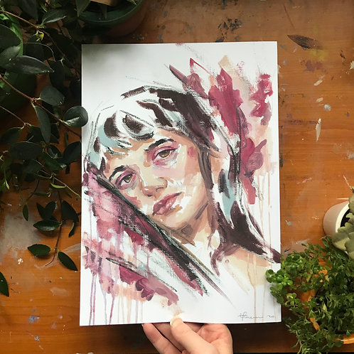 Study of a Girl, Art Print