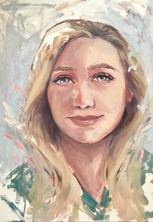 NHS Portrait, A3, oil on canvas paper, not available