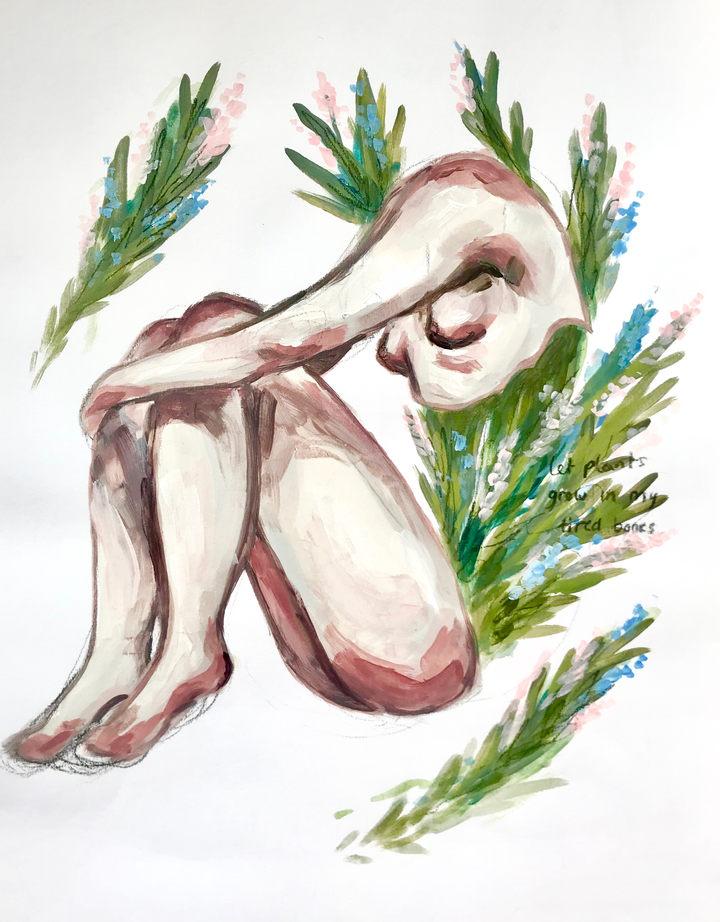 Let Plants Grow, Acrylic on paper, 27.6x35.4cm, £35, 2019