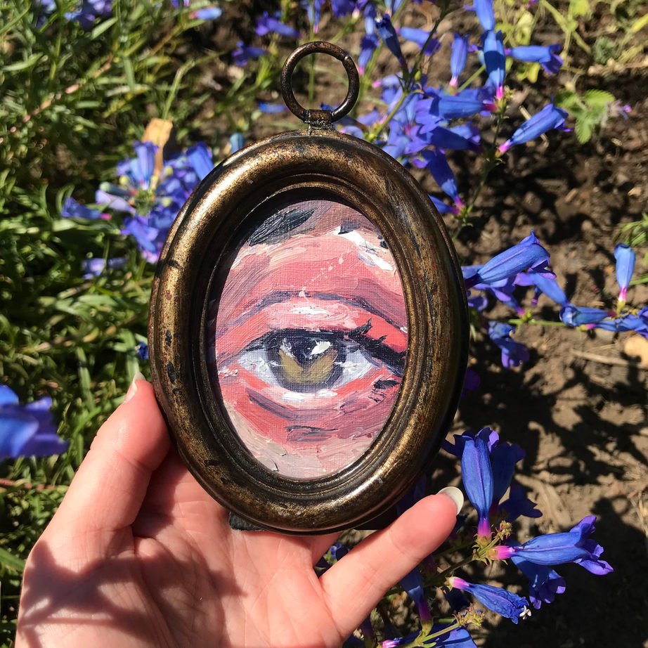 Eye study four, framed, 9x11cm, oil on canvas paper, 2020, Sold