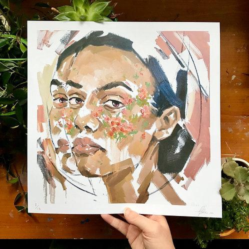 Painting Flowers, Art Print