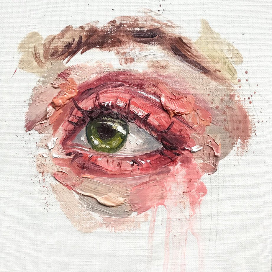 Eye Study One, 15x15cm, oil on canvas paper, 2020, Sold