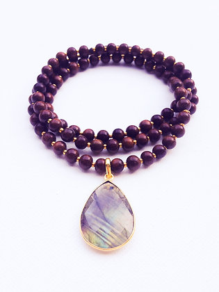 Wood and Gold necklace & Labradorite pendant
