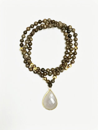 Hand knotted Wood and Gold Coated Pyrite Necklace