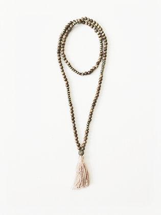 Grey Wood Tassel Necklace