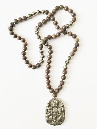 Pyrite & Wood Yoga Necklace