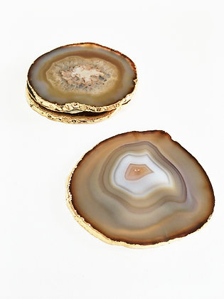 Set of 4 Gold Agate Coasters