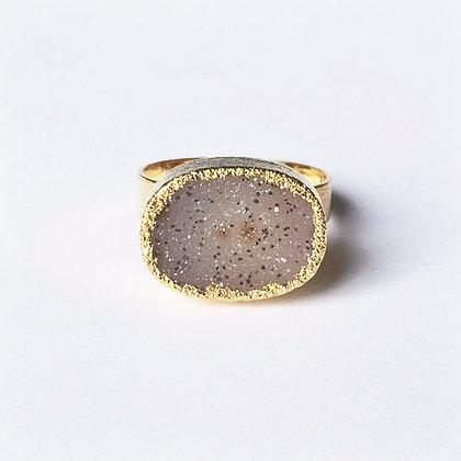 Natural Agate Druzy Gold Ring - Adjustable