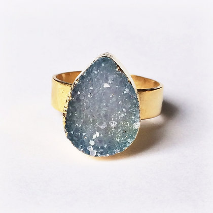 Natural Blue Agate Druzy Gold Ring - Adjustable
