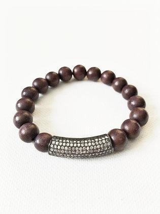 Grey Wood & Pave Bar Bracelet