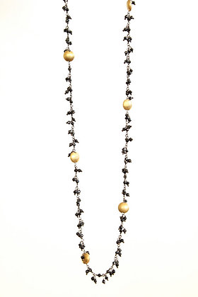 Black Spinel & Gold Coin Necklace