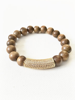Gold Wood & Pave Bar Bracelet