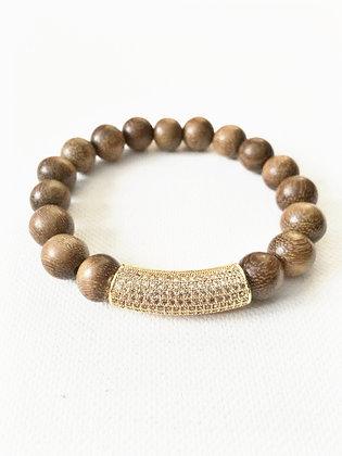 Gold Wood & Pave Bar Bracelet