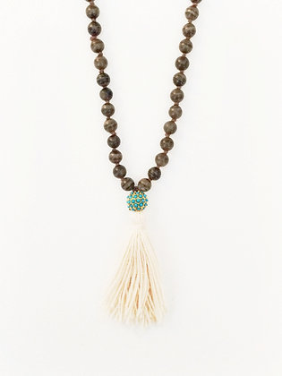 Wood & Turquoise Tassel Necklace