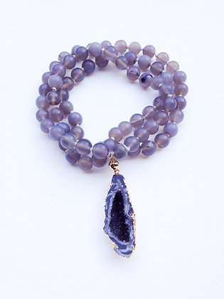 Matte Agate Hand knotted Necklace