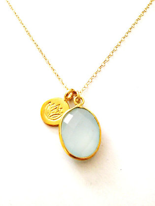 Sea Green Chalcedony & Lotus Necklace